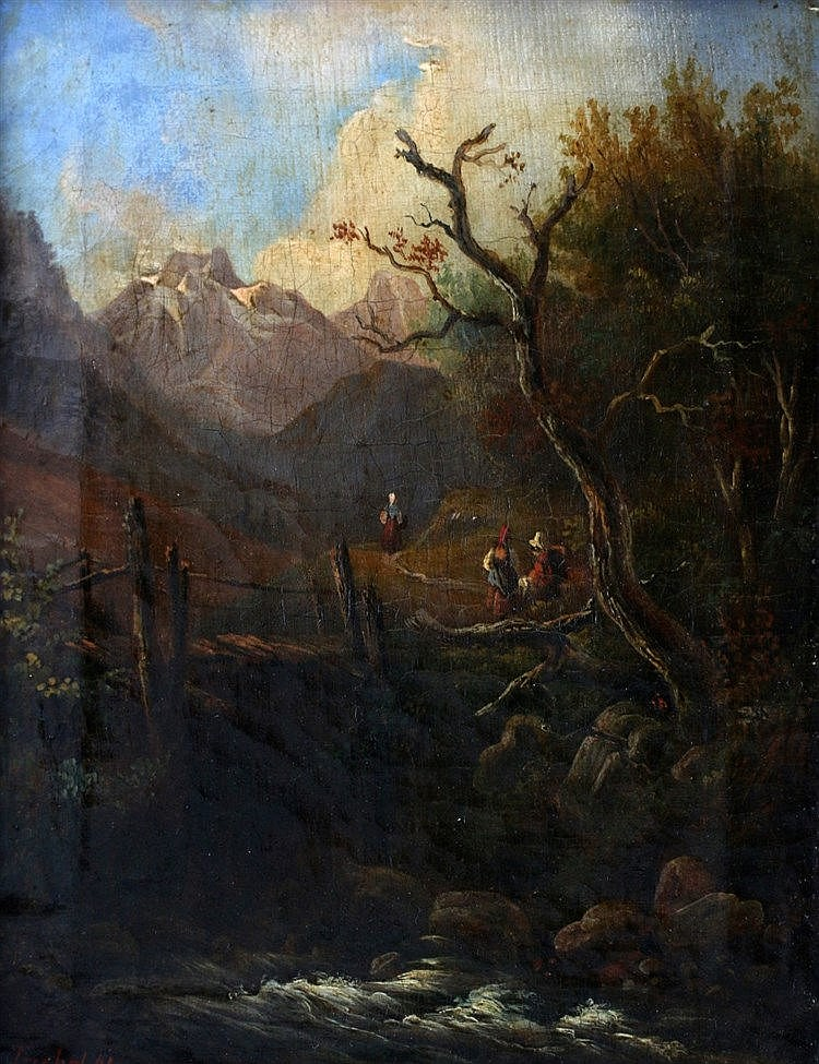Carl Triebel (1823-1885) A mountainous landscape with travellers