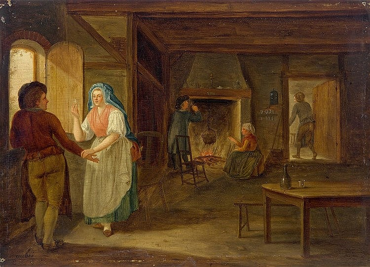 Martin Aubee (1729-1806) The interior of an inn with a woman hold