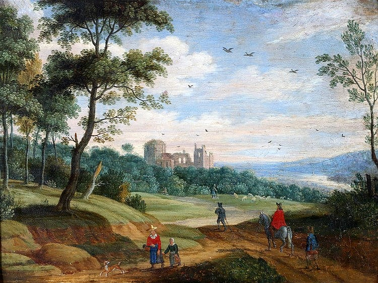 Isaac van Oosten (1613-1661) Travellers in a landscape with a rui