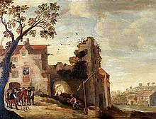 Hollandse School 17e eeuw Landscape with bowling men in front of