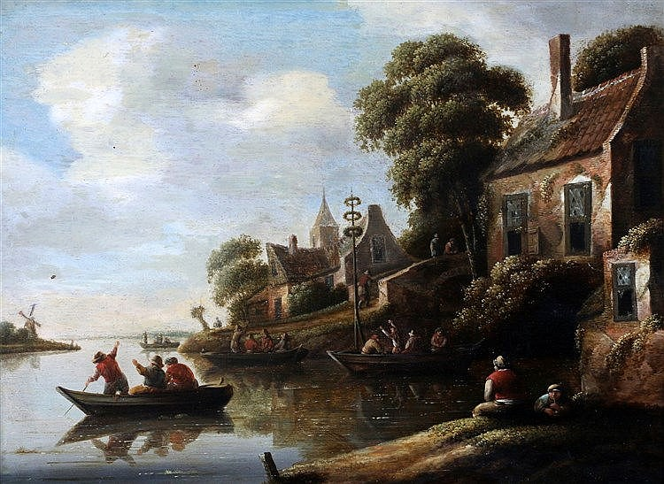 H. Krasburg (1700-1799) Two riverscapes in summer with farmers in