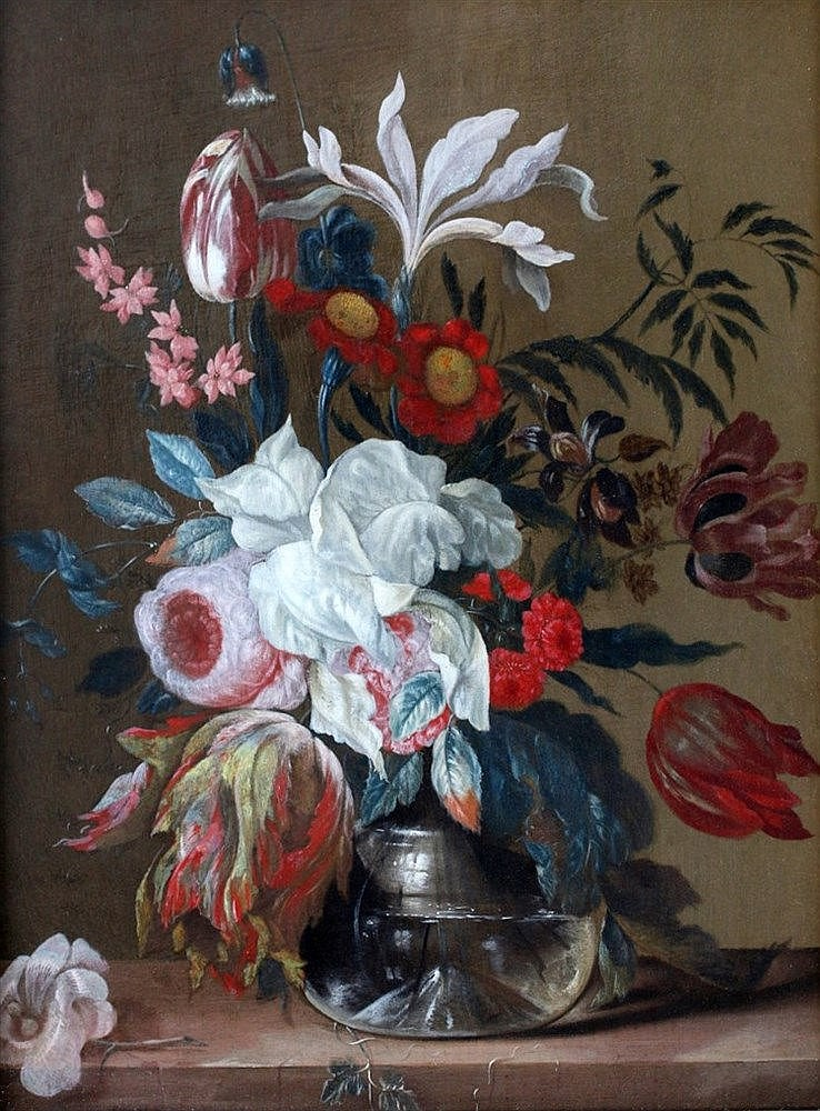 Hollandse School 18e eeuw Still life with flowers. Paneel 32,5 x