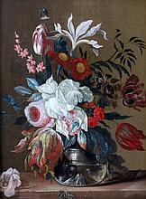 Hollandse School 18e eeuw Still life with flowers. Paneel 32,5 x