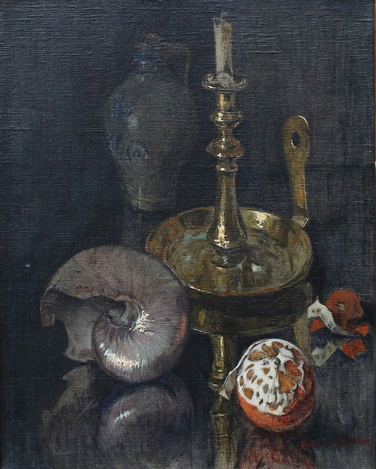 Henri van Os-Delhez (1880-1976) Still life with copper candlestic