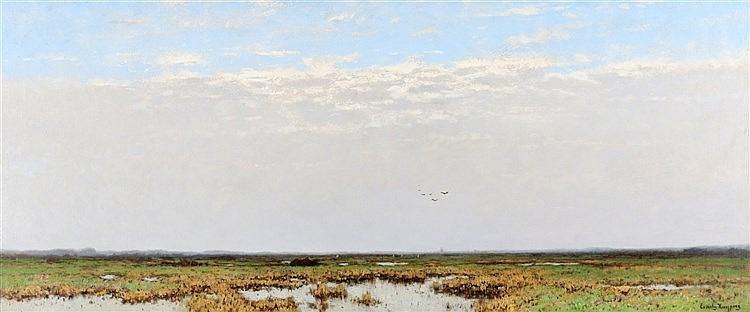 Cornelis Kuijpers (1864-1932) A polder landscape. Signed lower ri