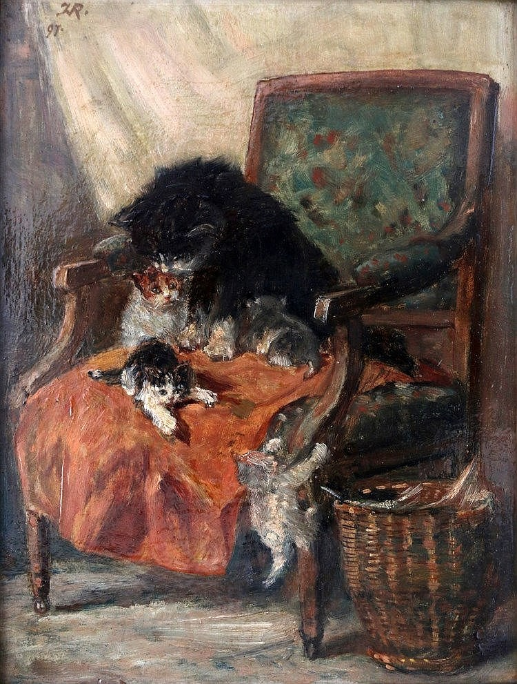 Henriëtte Ronner-Knip (1821-1909) Cat family in an armchair. Sign
