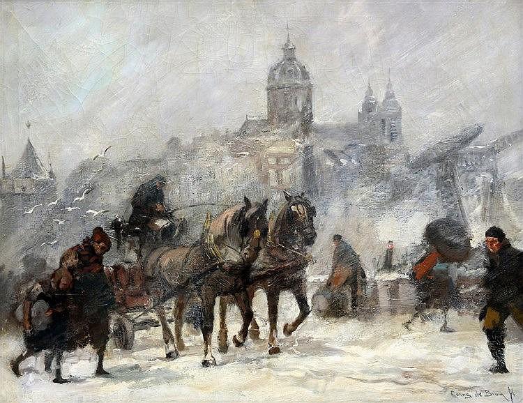 Cornelis de Bruin (1870-1940) Prins Hendrikkade in Amsterdam in t