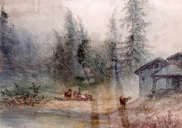 Hendrik Pieter Koekkoek (1843-1890) Cattle by a pond. Signed lowe