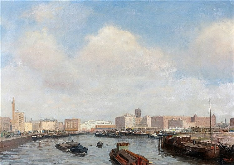 Herman Mees (1880-1964) View on the city of Rotterdam. Signed and