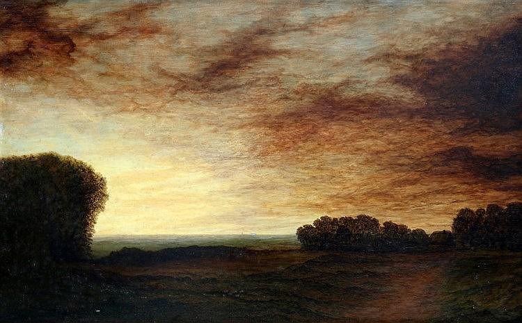 Europese School 20e eeuw A landscape by evening. Doek 49 x 79 cm