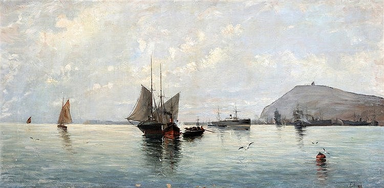 Europese school 19e/20e eeuw A Mediterranean seascape with severa