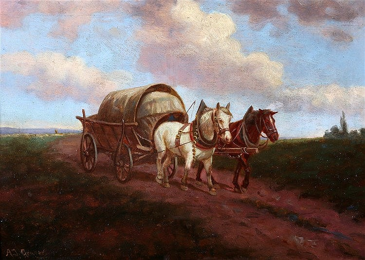 Duitse School 20e eeuw Wagon with two horses on a road. Signed lo