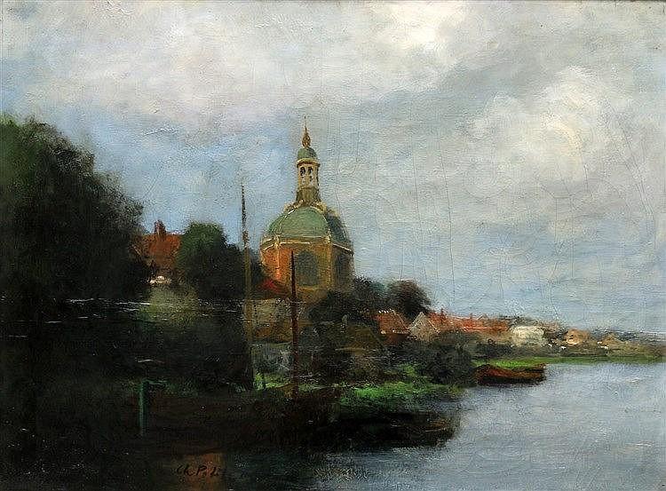 Toegeschreven aan Charles Petit (1863-1949) View of Leiden. Signe