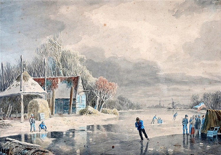Hendrik Manfield Haus (1803-1843) Figures on the ice. Signed lowe