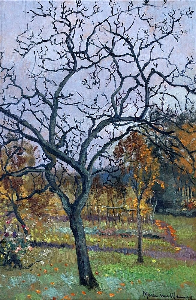 Martin van Waning (1889-1972) Fruit tree in fall. Signed lower ri