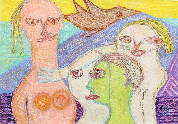 Lotti van der Gaag (1923-1999) Four figures and a bird. Signed an
