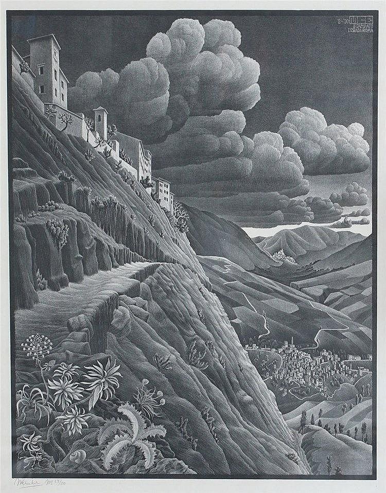 Maurits Cornelis Escher (1898-1972) Castrovalva'. (Abruzzi). Sign