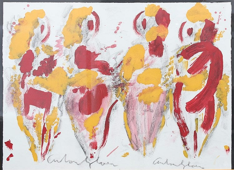 Anton Heyboer (1924-2005) Four women. Signed lower middle. Aquare