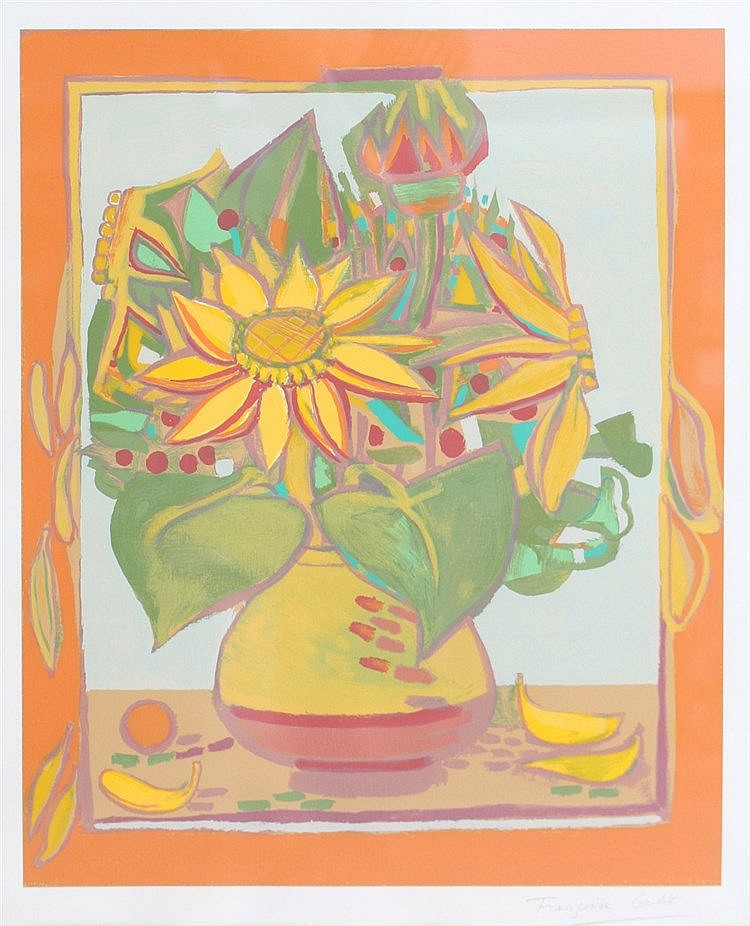 Francoise Gilot (1921-) A still life with flowers. Signed lower r