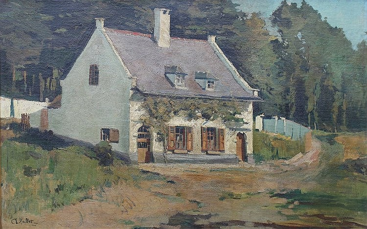 Adolphe Keller (1880-1968) A house on the forest's edge. Signed l