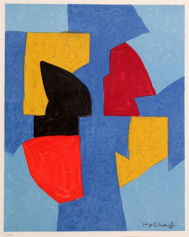 Serge Poliakoff (1900-1969) Komposition in Blau, Schwarz, Rot und