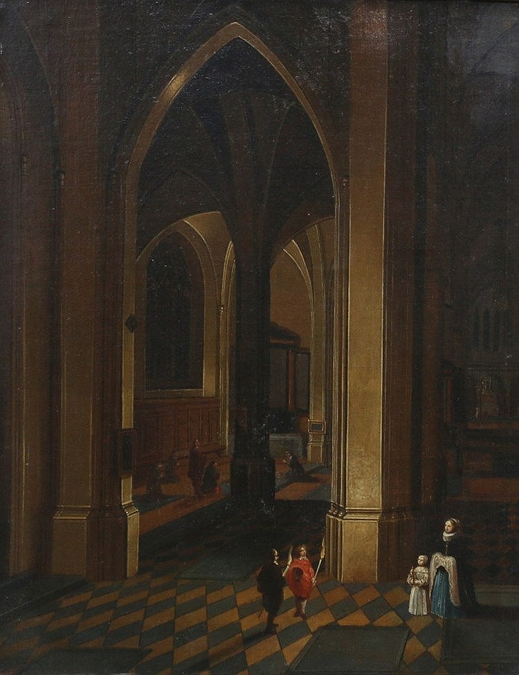 Hollandse School 19e eeuw Church interior with several figures. I