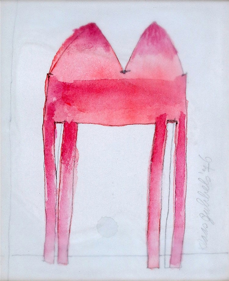 Klaas Gubbels (1934-) Pink table. Signed and dated '76 in pencil