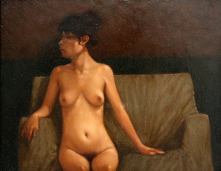 Karel van Rooijen (1945-) Nude sitting on a sofa. Signed in monog