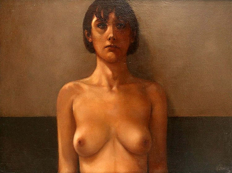Karel van Rooijen (1945-) Portrait of a nude. Signed in monogram