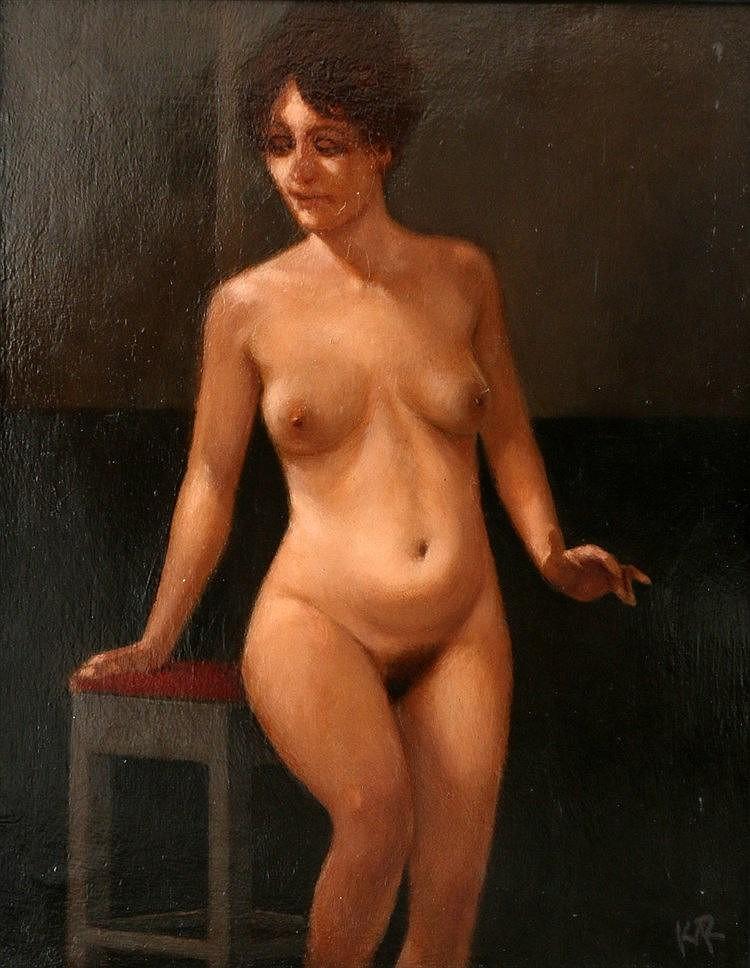 Karel van Rooijen (1945-) Nude with a stool. Signed in monogram l