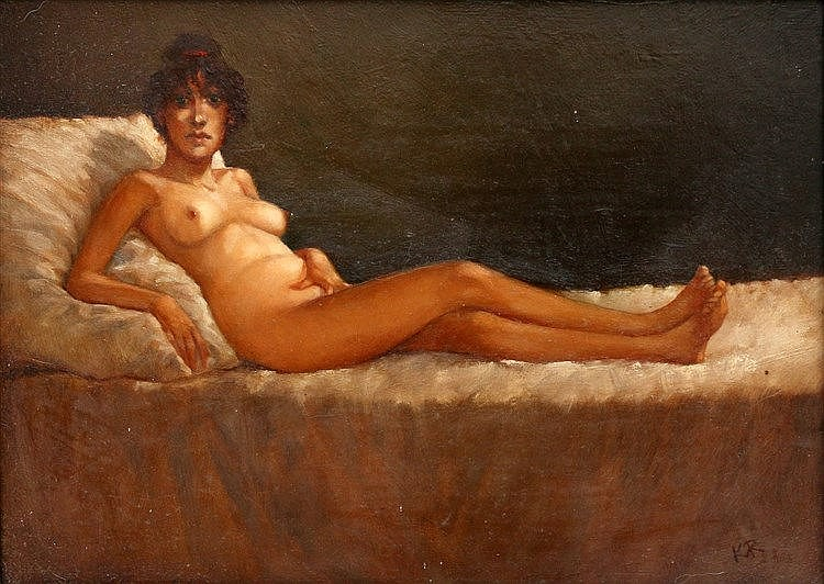 Karel van Rooijen (1945-) Reclining nude. Signed with monogram lo