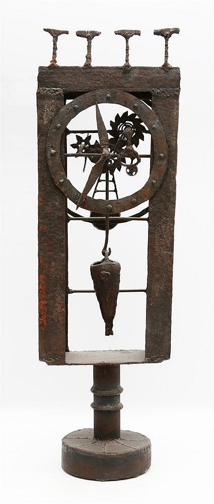 Kor Bekker (1928-1980) An iron sculpture. A clock. Unsigned, unda