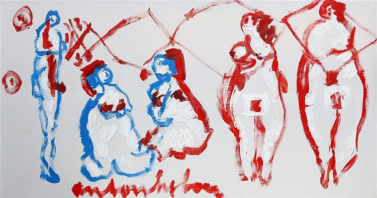 Anton Heyboer (1924-2005) Four women and a man. Signed at the bot