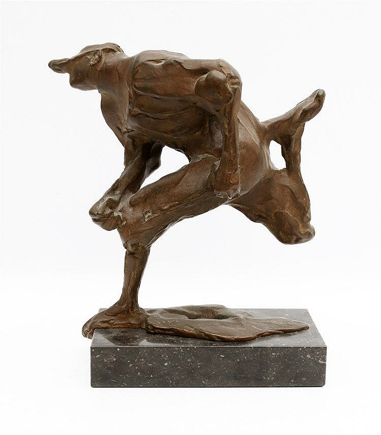Piet Esser (1914-2004) A bronze sculpture on a marble base. 'Home