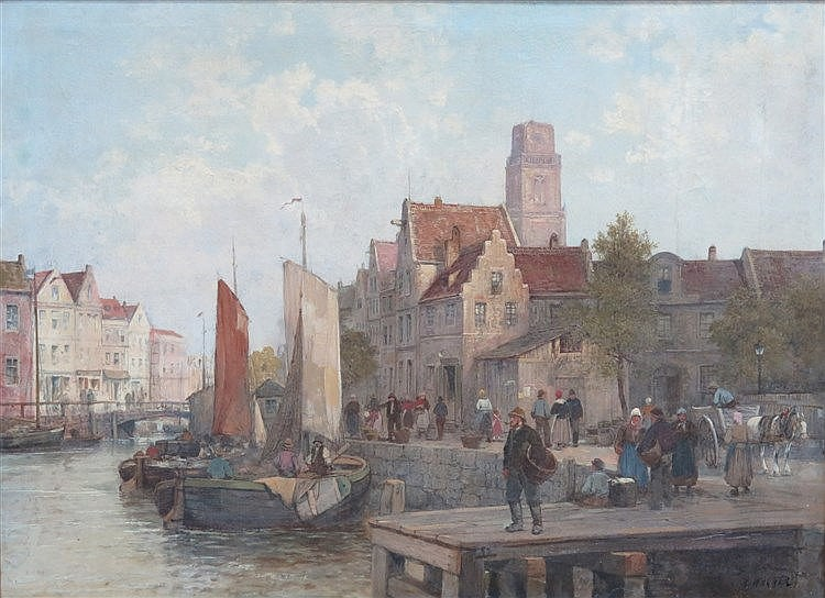 Karl Wagner (1839-1923) View on a town harbour with anchored ship
