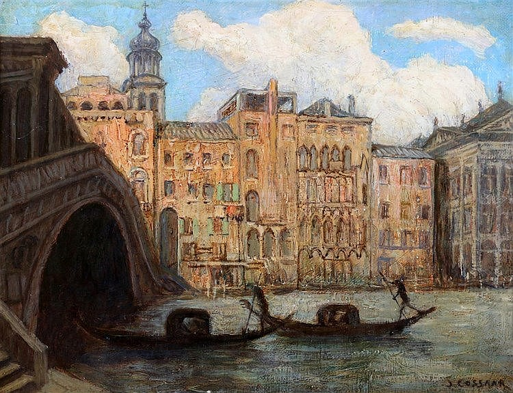 Jan Cossaar (1874-1966) Venice. Signed lower right. Doek 28 x 36