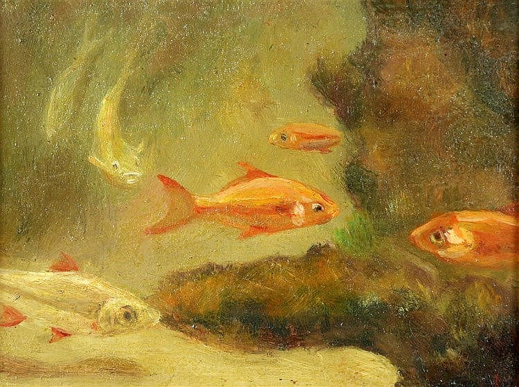 Gerrit Willem Dijsselhoff (1866-1924) Goldfish. Faded monogram lo