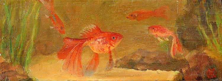 Gerrit Willem Dijsselhoff (1866-1924) Fantail goldfish. Signed wi