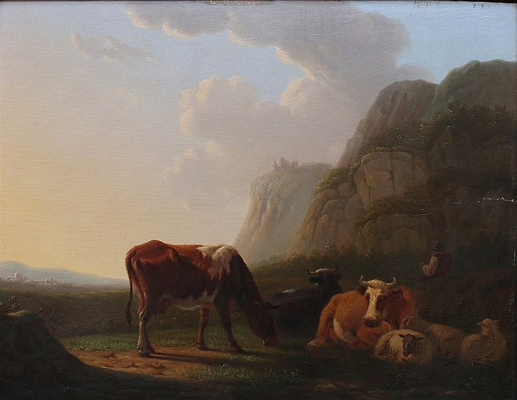Matthijs Quispel (1805-1858) Cows in a landscape. Signed lower le