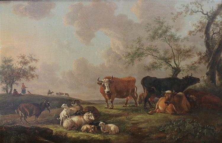 Toegeschreven aan Louis Pierre Verwée (1807-1877) Cattle in a lan