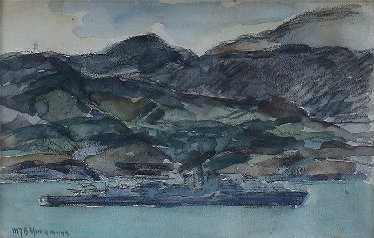 Maarten Jungmann (1877-1964) A ship along the coast. Signed lower