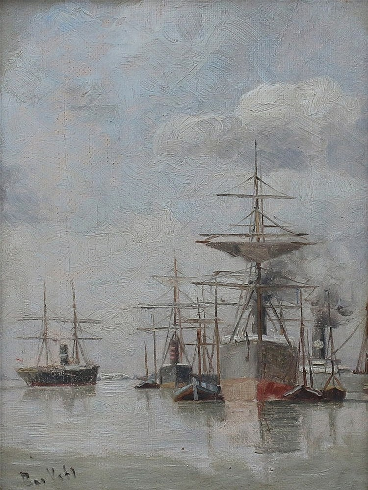 Bas Veth (1861-1944) Ships on the Meuse with a Holland America Li