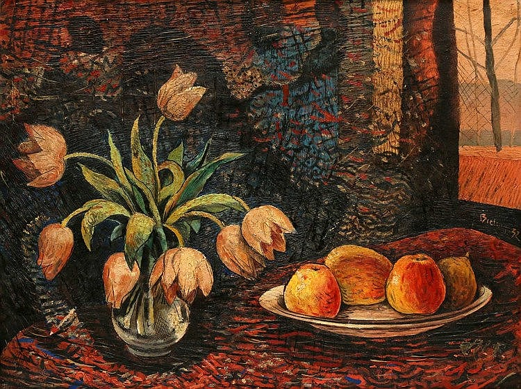 Herman Bieling (1887-1964) Still life with tulips and fruit. Sign