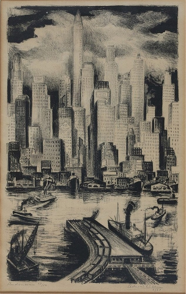 Adriaan Lubbers (1892-1954) 'Hudson river'. Numbered 29/50 lower