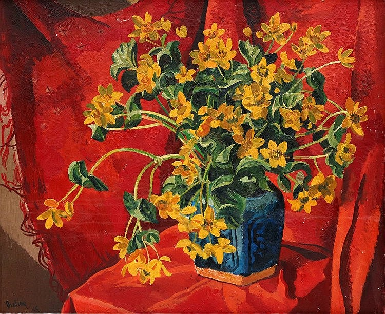 Herman Bieling (1887-1964) Still life with flowers on red drapery