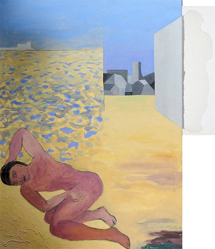 Ubaldo Sichi (1952-) Composition with standing and reclining woma