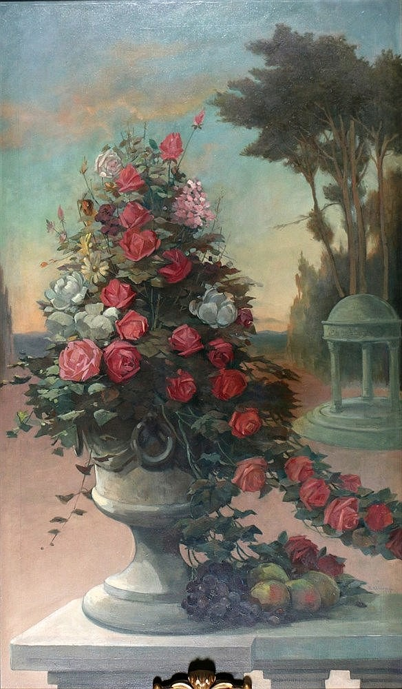 Bart Klunne (1875-1924) Chimney piece with a flower still life. S
