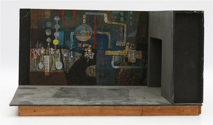 Kees Franse (1924-1982) A maquette of a laboratory. Verso signed.