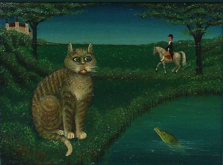 Willem Westbroek (1918-1998) A cat near a pond. Signed and dated