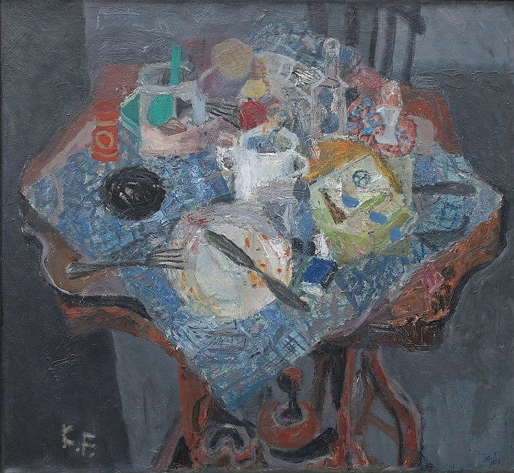 Kees Franse (1924-1982) A still life with a sugar bowl. Signed wi